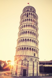 Pisa leaning tower at sunrise, Italy. Special photographic processing