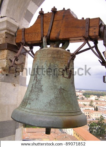Pisa, medieval small town in Tuscany - bell on the top of the leaning tower