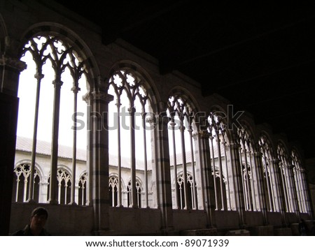 Pisa, medieval small town in Tuscany - series of gothic windows in the monumental cemetery