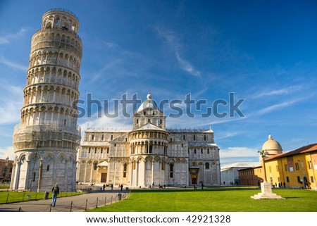 Pisa, Piazza dei miracoli, with the Basilica and the leaning tower. Shot with polarizer filter.