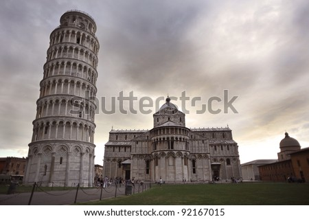 Pisa, Piazza dei miracoli, with the Basilica and the leaning tower, Tuscany, Italy