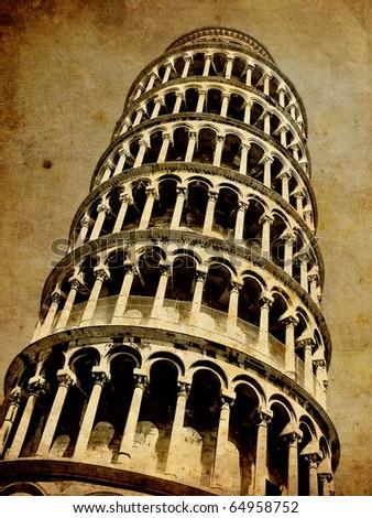 pisa tower vintage postcard