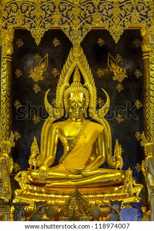 PISANULOK, THAILAND - OCT 23: The main hall of Wat Thardtong with golden Buddha statue on Oct23, 2012. Wat Yai is a famous temple built in ancient Siam Kingdom.