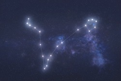 Pisces Constellation stars in outer space. Zodiac Sign Pisces constellation lines. Elements of this image were furnished by NASA