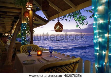 Pisces Restaurant at St. Lawrence Gap on Barbados Island Foto stock ©
