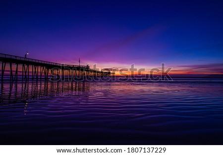 Pismo Beach Sunset with Vibrant Purple Zdjęcia stock ©