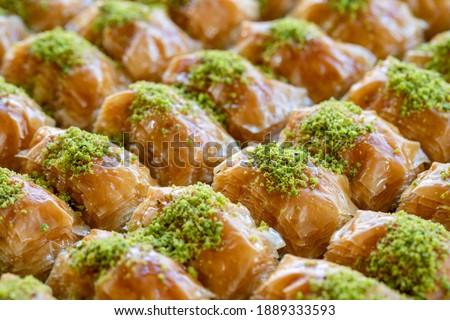 Pistachio baklava. Traditional Middle Eastern Flavors. The local name of Baklava is Fıstıklı Baklava. Close up