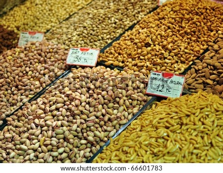 Pistachio, cashew, pine seeds, almond and other nuts on a Turkish market