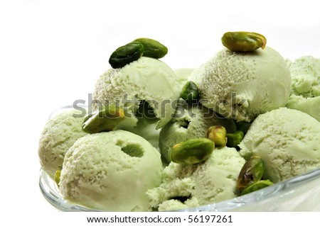 Pistachio ice cream in cup