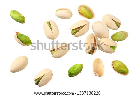 pistachio isolated on the white background. top view #1387138220