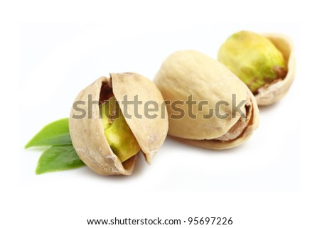Pistachios. Isolated on white background.
