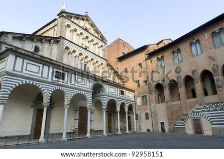 Pistoia (Tuscany, Italy), facade of the medieval cathedral