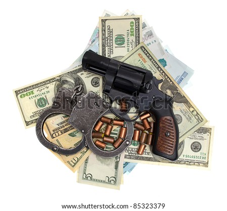 Pistol, ammunition, handcuffs, money, isolated on a white background