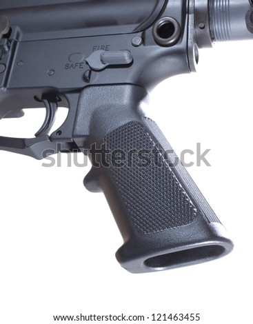 Pistol grip and trigger that are on an AR-15