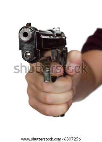 Pistol in hand - isolated on white background