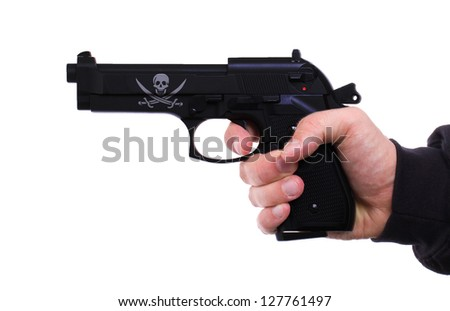 Pistol in hand, isolated on white background, pirate