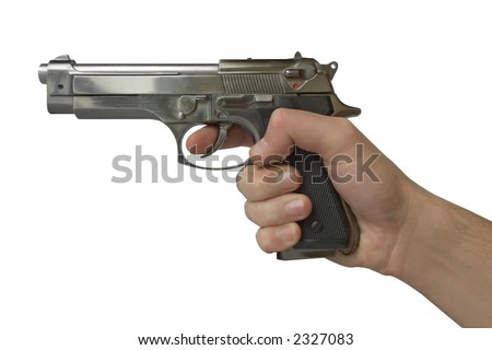Pistol in hand - isolated (white background)