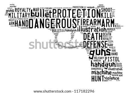 Pistol info-text graphics composed in pistol shape concept on white background