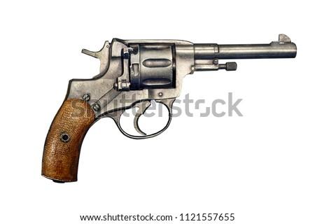 Pistol revolver isolated on white background. Vintage pistol revolver. Pistol revolver top view . #1121557655
