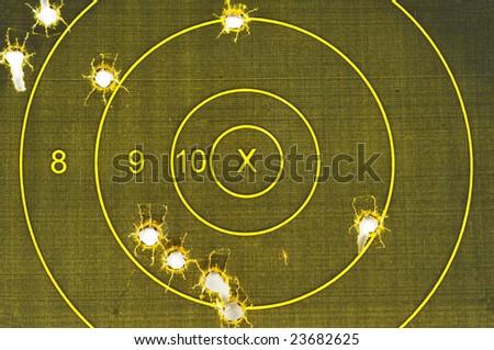 Pistol Target missing the bullseye, off target - stock photo