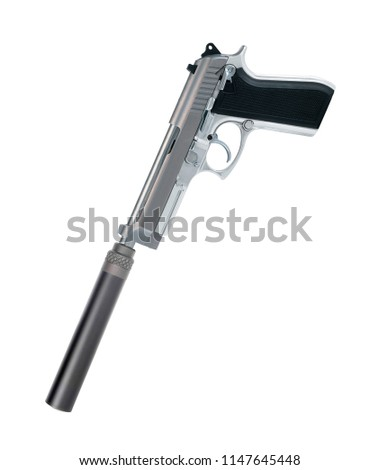 Pistol with a silencer isolated on white background #1147645448