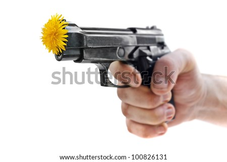 pistol with flower isolated on white background included work path