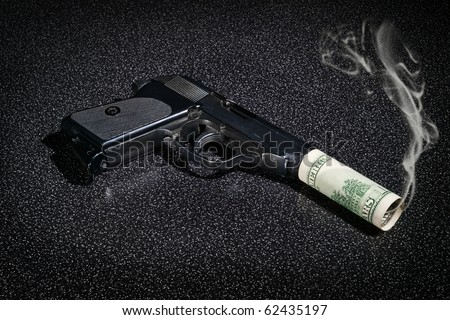 Pistol with imitation of silencer from dollar greenback and with smoke from barrel