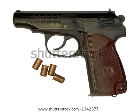 Pistol, with transparent parts, isolated