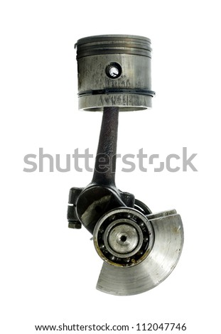 piston and connecting rod on white background
