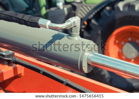 Piston or actuator of hydraulic and pneumatic machinery. Engineering and technology concept Foto stock ©