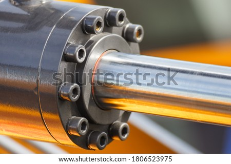 Piston or actuator of industrial hydraulic and pneumatic machine. Engineering and technology Foto stock ©