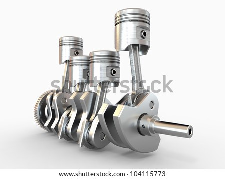Pistons and crankshaft. four cylinder engine. 3d