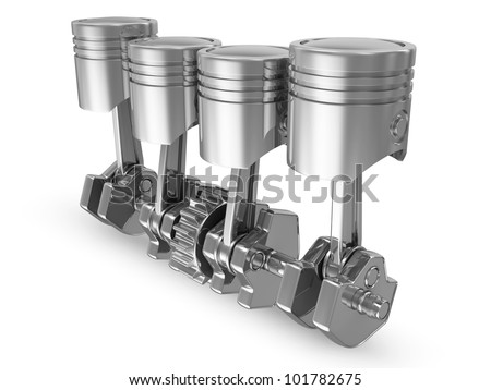 Pistons and Crankshaft isolated on white background (4 Cylinder Engine)