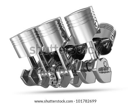 Pistons and Crankshaft isolated on white background ( V8 Engine)