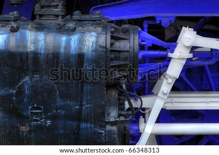 pistons of old black steam locomotive parts - grungy look