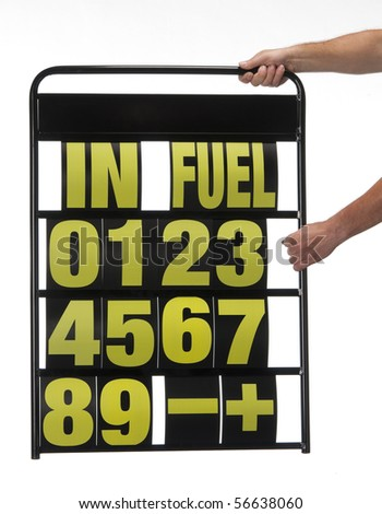 pit display board with numbers and letters
