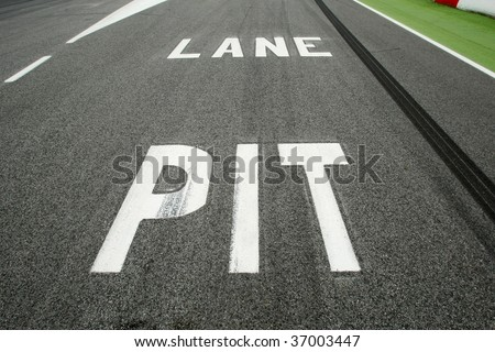 Pit Lane entrance in car competition circuit
