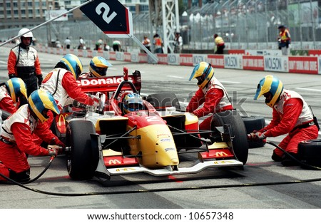 Auto Racing Uniforms on Pit Stop During Molson Indy Car Racing   Editorial Stock Photo