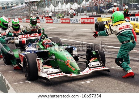 Auto Racing  Crew Apparel on Pit Stop During Molson Indy Car Racing   Editorial Stock Photo