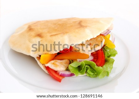 pita with roasted chicken and fresh vegetables