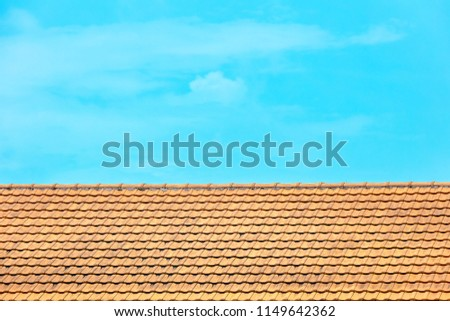 pitched roof tiles in repetitive patterns, old architecture shophouses Singapore Asia #1149642362