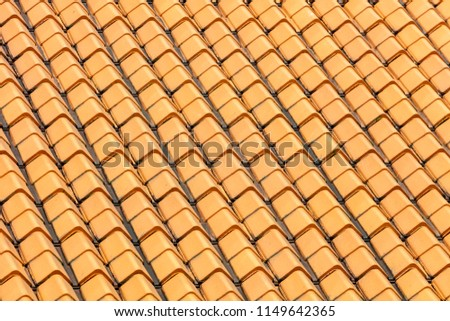 pitched roof tiles in repetitive patterns, old architecture shophouses Singapore Asia #1149642365