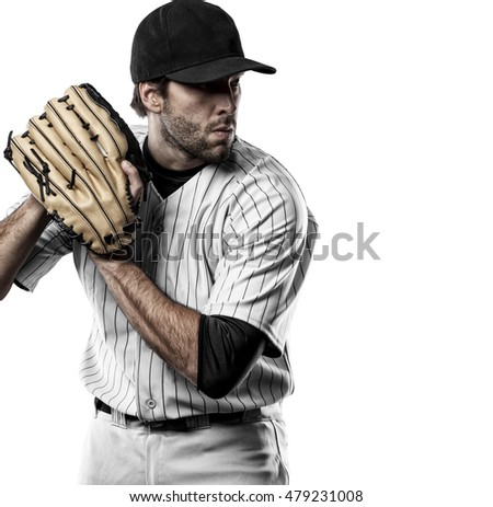 Pitcher Baseball Player with a white uniform on a white background.