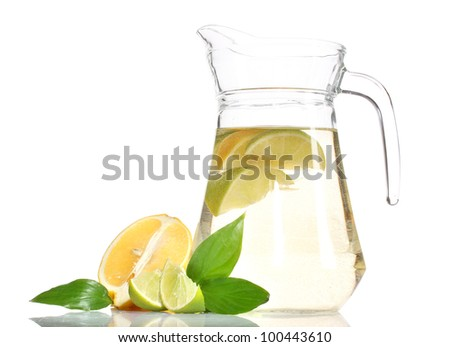 pitcher of lemonade, lime and lemon isolated on white