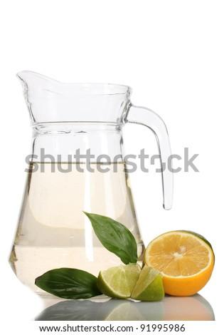 pitcher of lemonade, lime and lemon isolated on white - stock photo
