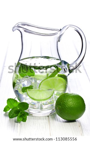 pitcher of lemonade with lime and mint