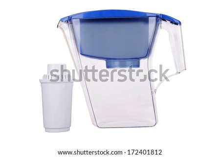 Pitcher with filter for water cleaning isolated on white background