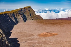 Piton de la Fournaise, very active volcano on the French Island La Reunion in the Indian Ocean, Landscape photography