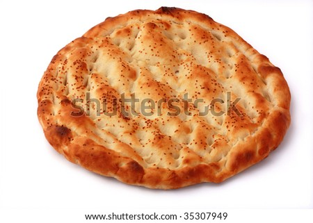 Pitta isolated on white background. Popular food in Ramadan.