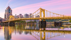 Pittsburgh city downtown skyline cityscape of USA